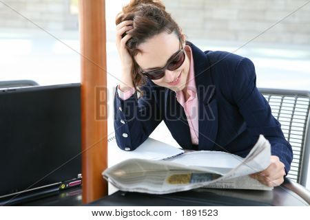 Business Woman Reading