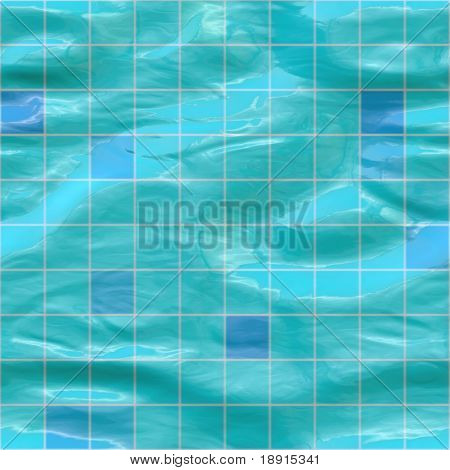 blue ceramic tiles submerged under water, seamlessly tillable