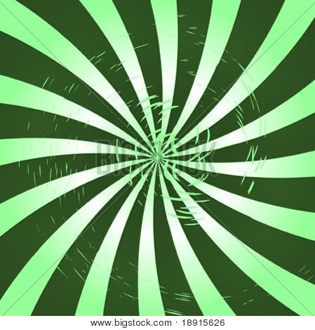 swirly green grunge retro style sunburst
