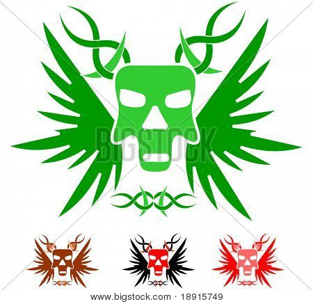 winged skull tattoo template with color variations