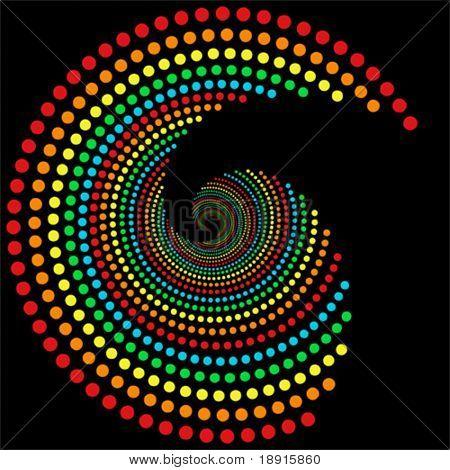 rainbow dots spiral pattern