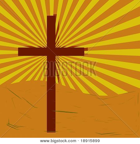cross on swirly, grungy sunburst
