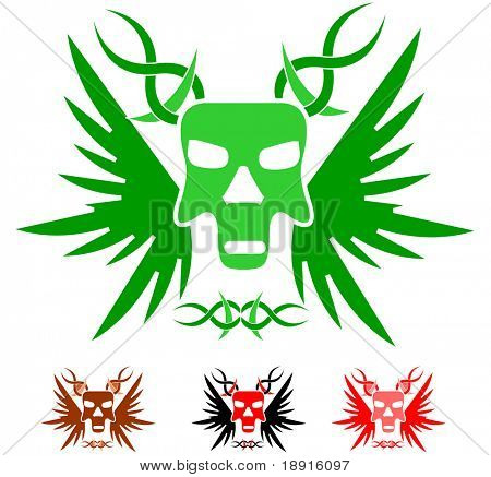 winged skull tattoo template with color variations, vector also in my portfolio