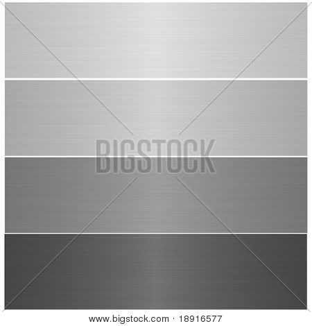 four metal brushed banners, isolated over white