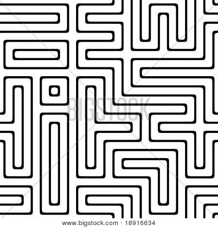 black and white maze that will tile seamless as a pattern