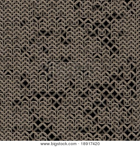 rusty link or chain mail armour background with missing pieces, tiles seamless