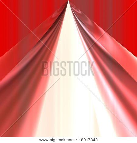 cortina de teatro vermelho sobre fundo branco de abertura