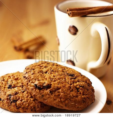 Cookies and coffee with cinnamon