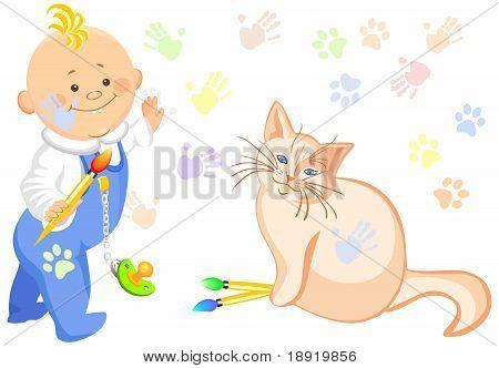 Niño de Vector y un dibujo de gato