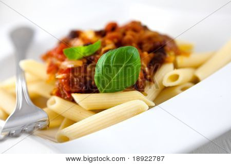 Penne Pasta with tomatoes and pancetta