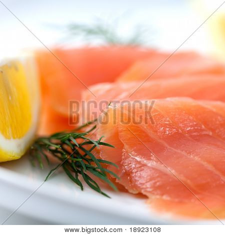 Close up of smoked salmon