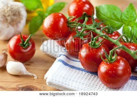 Cherry tomatoes on the vine,garlic and basil