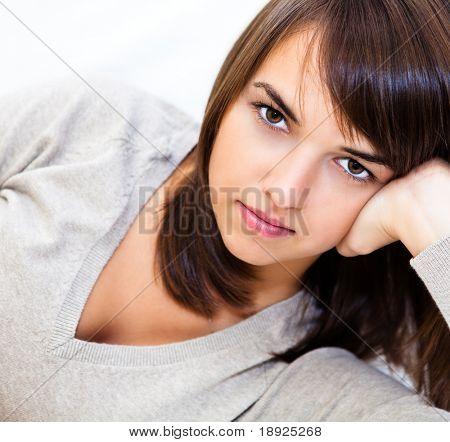 Closeup Portrait einer jungen selbstsicher Frau