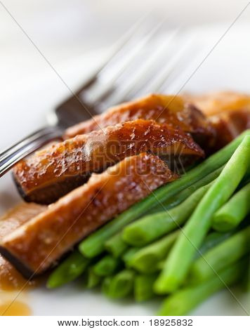 Roast duck breast with green beans