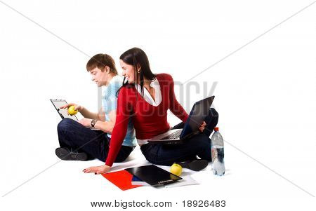 friend are doing homework (isolated on white)