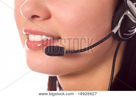 hotline operator with headset isolated on white