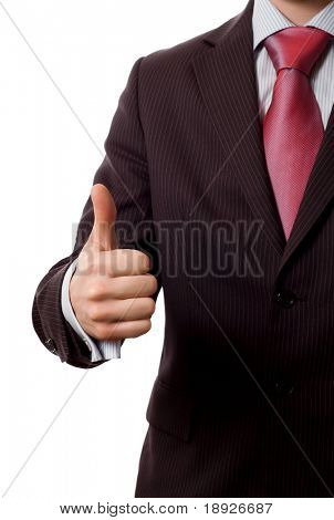 Businessman with thumbs up, everything is OK. (isolated on white)
