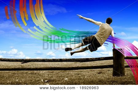 Man jumping over the fence