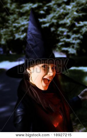 Screaming witch in a hat