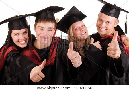Group of happy graduated students