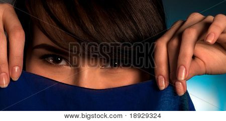 Close up of Asian womans face