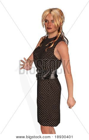 Business Woman Walking and Waving