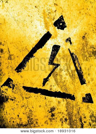 high voltage sign, grunge background