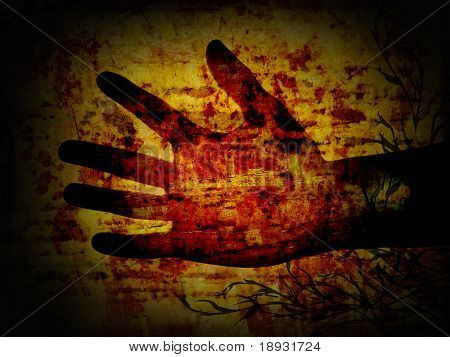 Hand on the grunge background