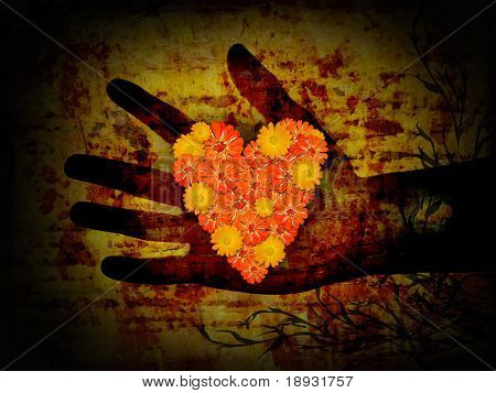 Flowers heart in the hand