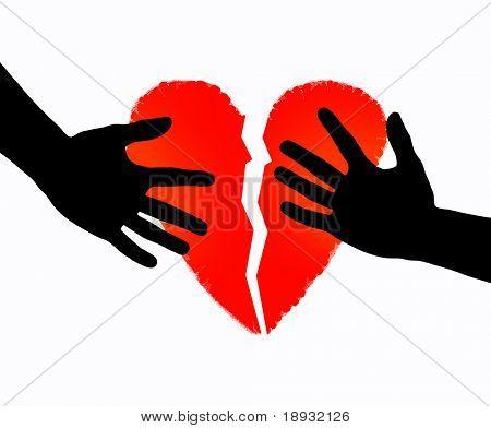 Broken heart & hands