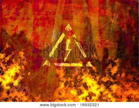 fire flame and high voltage sign on grunge rusty background
