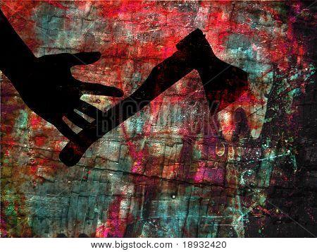 Hand & Axt, Grunge kriminellen Abbildung