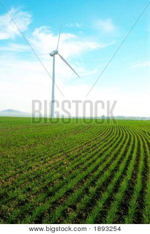 Turbina de viento contra un cielo azul