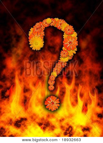 question-mark on fire flame