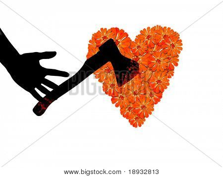 Red flower heart & axe, isolated