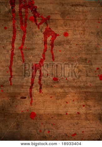 Blood on wooden background