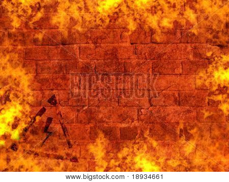 brick wall on fire, high voltage sign