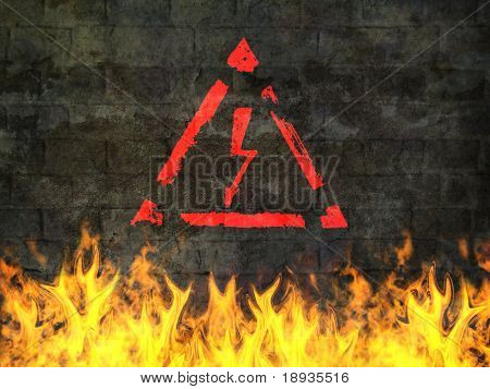 High voltage sign on fire