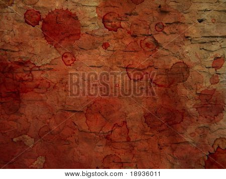 bloody stained stone wall