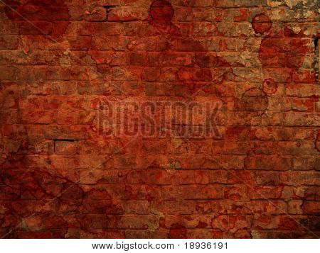 Bloody stained brick wall