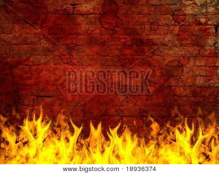 Grunge brick wall on fire