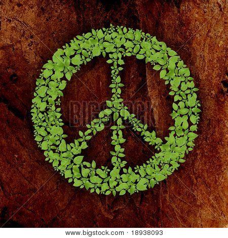 símbolo de la paz de planta verde sobre fondo de piedra