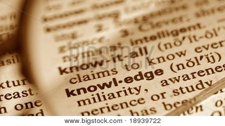 The word knowledge through a pair of glasses