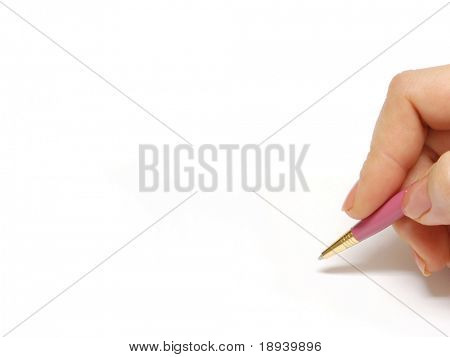 Female hand with pen on a white background. Area to add text to the left