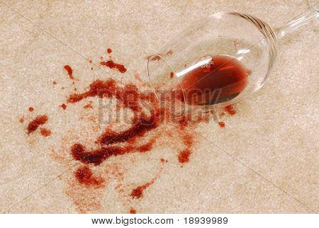Wine spill on the carpet