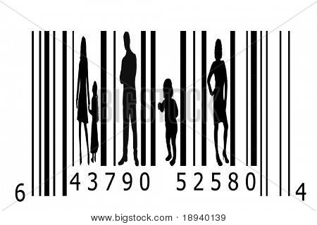 Bar code and people silhouettes. Can be used in business or as a concept for the crime of human trafficking