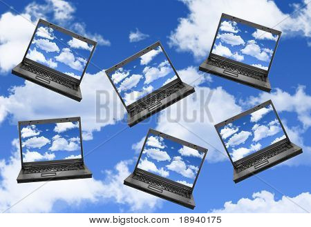 Cloud computing concept with laptops in the sky