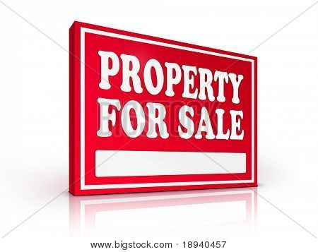 Real Estate Sign ? Property For sale on white background. 2D artwork. Computer Design.