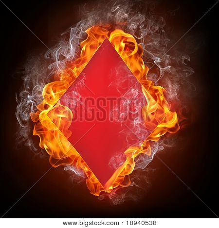 Diamonds Card in Fire. Computer Graphics.