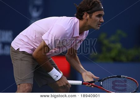 TORONTO: AUGUST 10. Roger Federer plays against Juan Ignacio Chela in the Rogers Cup 2010 on August 10, 2010 in Toronto, Canada.